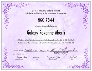 name a galaxy certificate