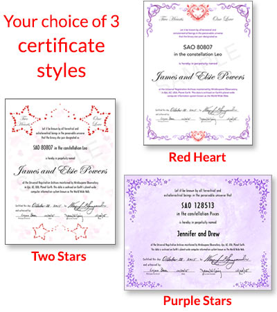 Name a Star certificates