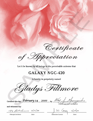 name a galaxy rose certificate