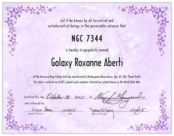 name a galaxy galaxy certificate