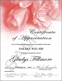 name a galaxy roses certificate